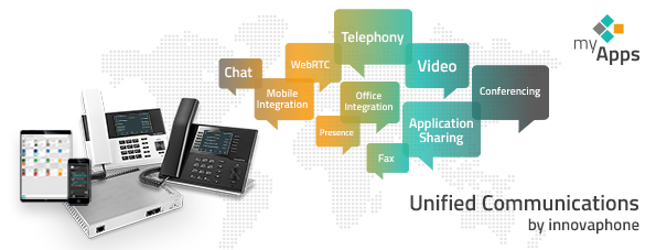 Gateway, Tablet, Smartphone, IP-Telefone, UC-Bubbles, myApps Logo, Text Unified Communicaitons by innovaphone