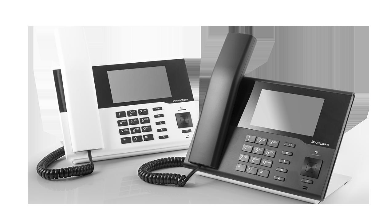 Téléphones IP design innovaphone avec écran tactile blanc et noir