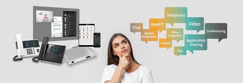 innovaphone PBX, UC-Bubbles, nachdenkliche junge Frau