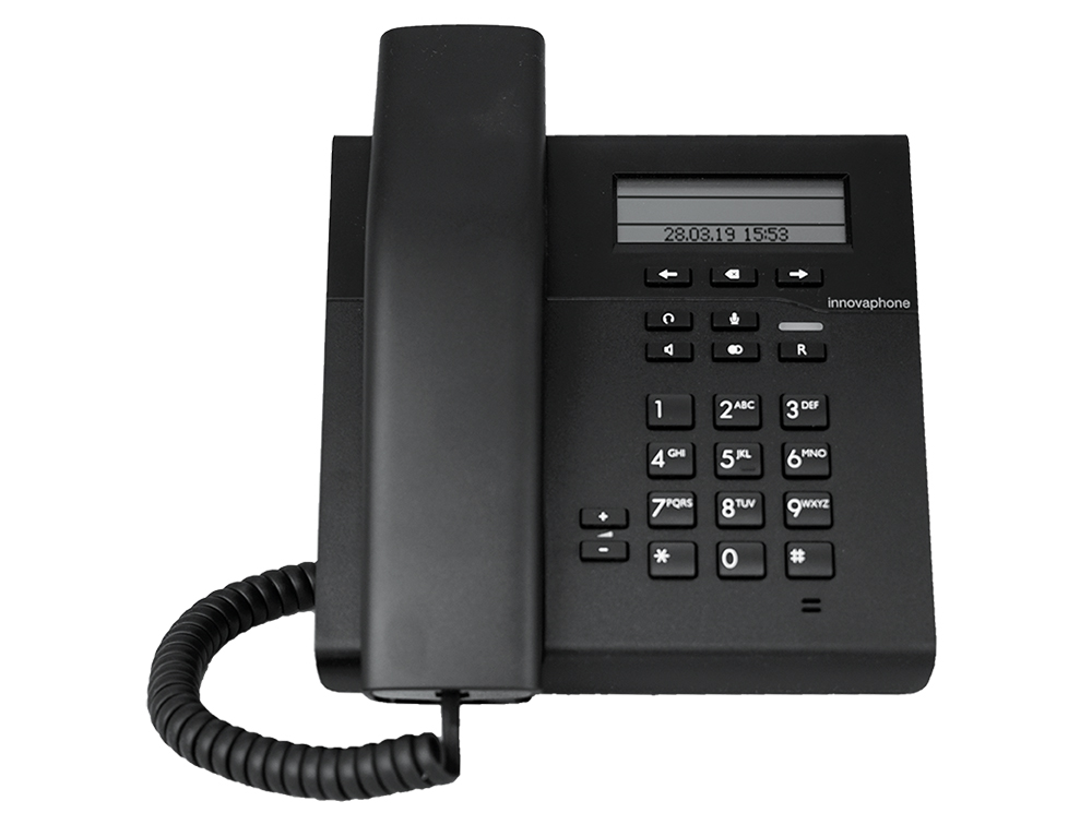innovaphone IP101: IP phone with monochrome LCD display, also suitable for wall mounting, front view, display on