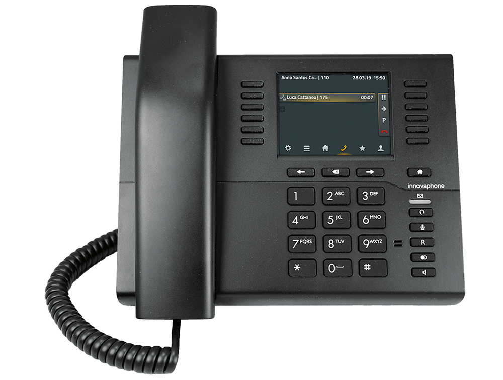 innovaphone IP112: IP phone with color screen and USB interface for headsets, front view, display on