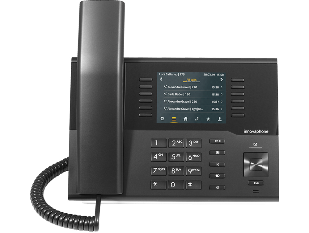 innovaphone IP222: IP phone (black) with color display, front view, display on