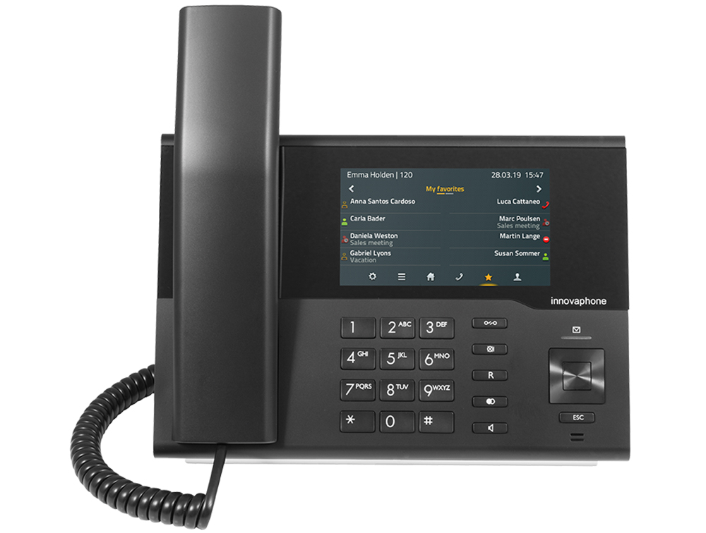 innovaphone IP232: Modern IP phone (black) with touch color display, front view, display on