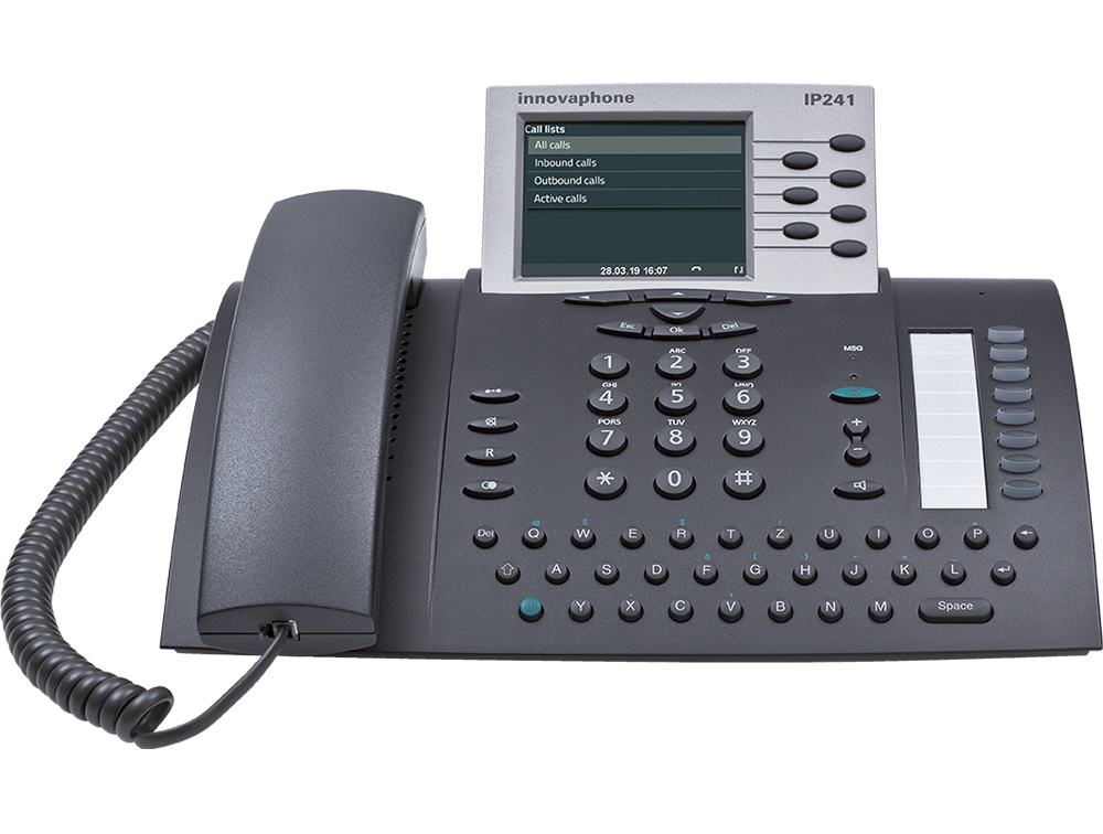 innovaphone IP241: IP phone with color display, front view, display on